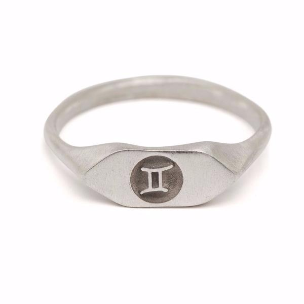 Silver zodiac signet ring Gemini horoscope sign ring