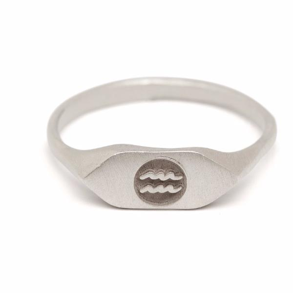 Silver zodiac signet ring Aquarius horoscope sign ring