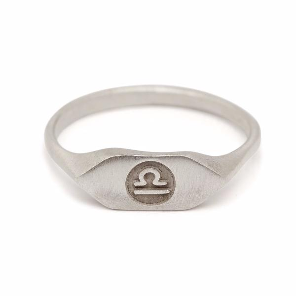 recycled Silver zodiac sign signet libra ring