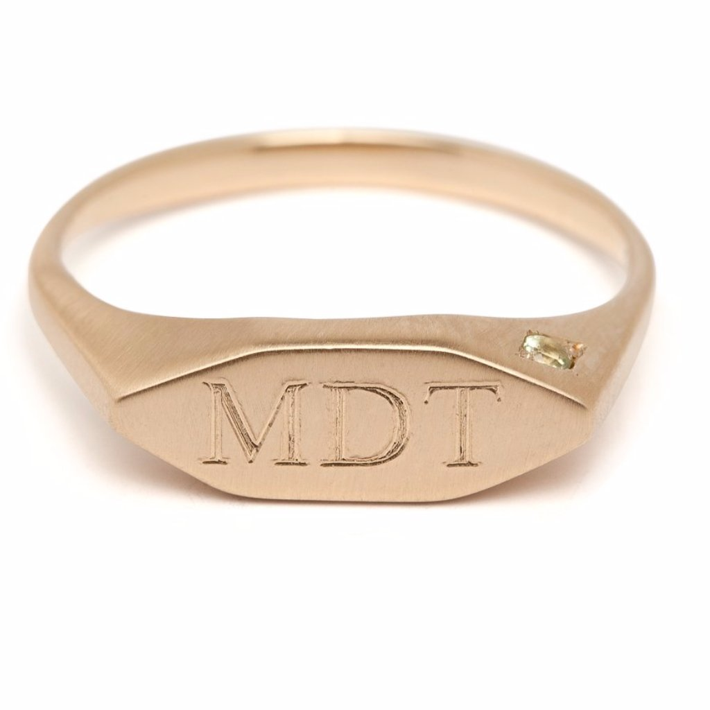 14kt gold unisex signet ring, free custom engraving