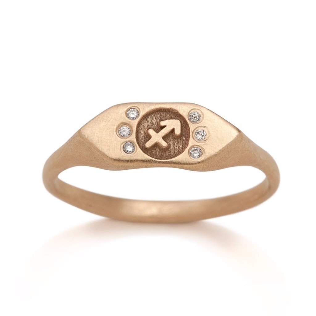 Diamond Zodiac Signet Ring