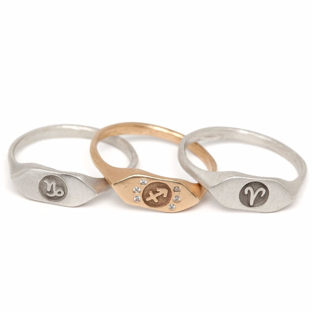 Signet horoscope pinky rings custom zodiac sign jewelry in recycled sterling silver or 14kt gold