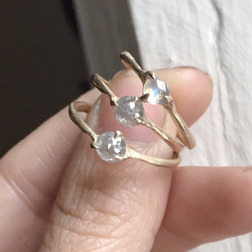 Rose Cut white diamond or moonstone ring set in handmade prong setting.  Sustainable and affordable engagment rings made in Brooklyn NY using recycled gold and reclaimed diamonds. Alternative bridal