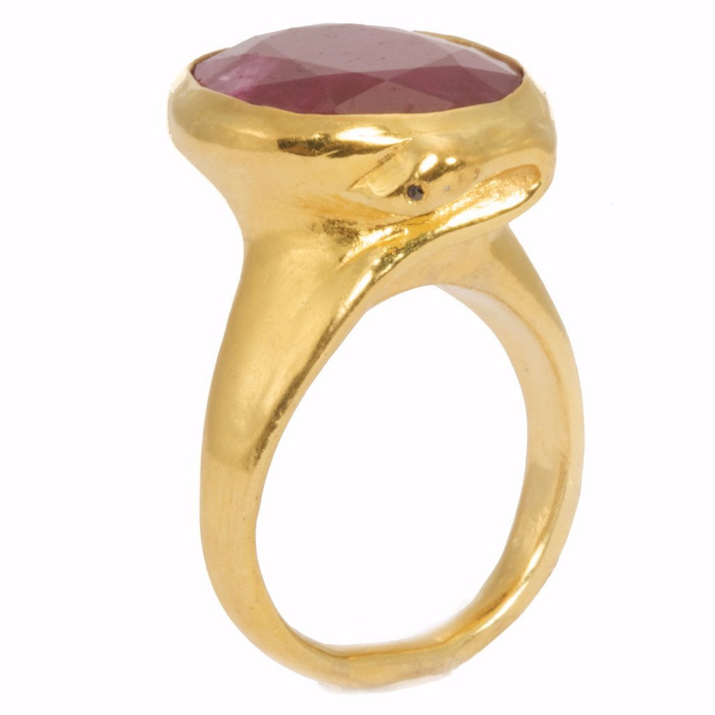 14kt Gold Ruby statement snake ring with black diamond detail- featured in Vogue Magazine