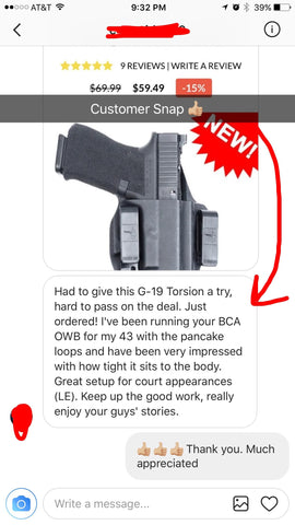 Bravo Concealment Customer Snapchat