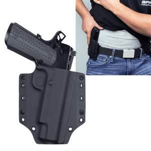"1911 Smith & Wesson 5"" (rail) OWB Kydex Gun Holster + Free Mag Pouch - Bravo Concealment"