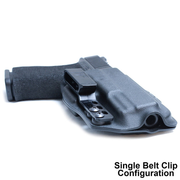 Single belt clip on a DOS Torsion Glock 19 Kydex Gun Holster