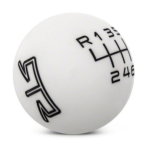 RTR WHITE SHIFT KNOB - BLACK ENGRAVING (15-17 ALL) - Mustang RTR - 1