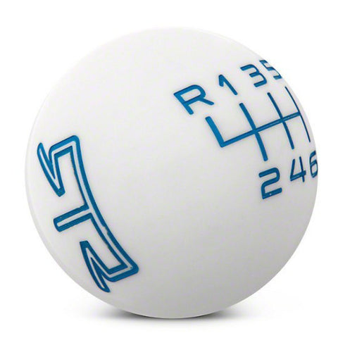 RTR WHITE SHIFT KNOB - BLUE ENGRAVING (15-17 ALL) - Mustang RTR - 1