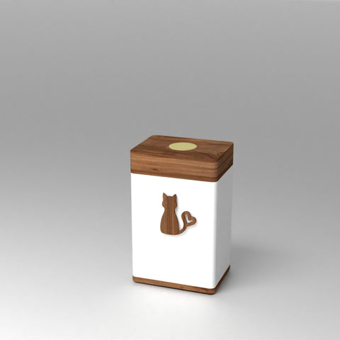 Vessel Kitty Cat Modern Keepsake Urn with PhoneTouch