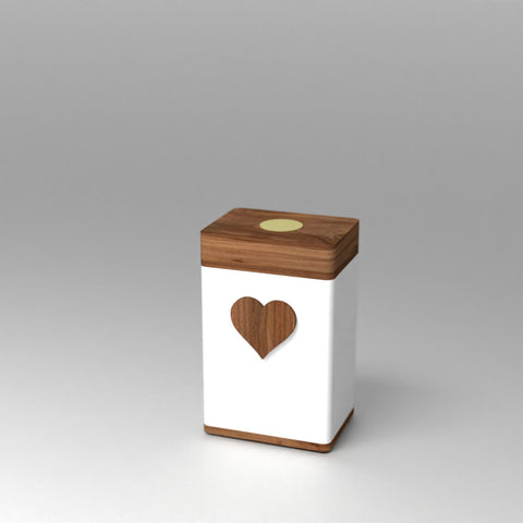 Vessel Elevation White Keepsake Urn with PhoneTouch