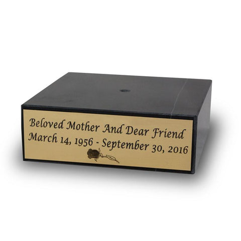6 inch Black Marble Urn Base with Gold Engravable Plaque