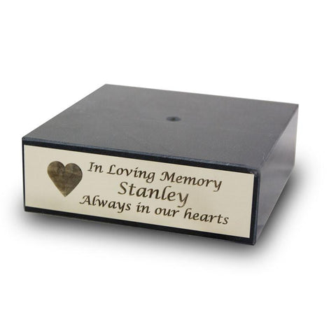 6 inch Black Marble Urn Base with Silver Engravable Plaque