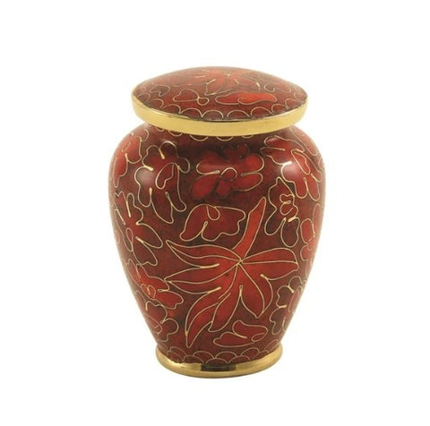 Auburn Leaves Cloisonne Cremation Keepsake Urn