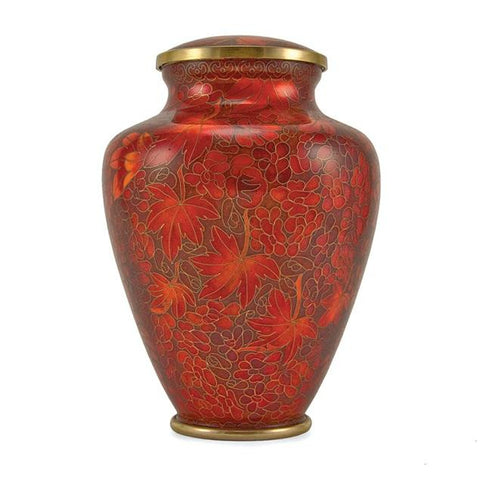 Auburn Leaves Cloisonne Cremation Urn