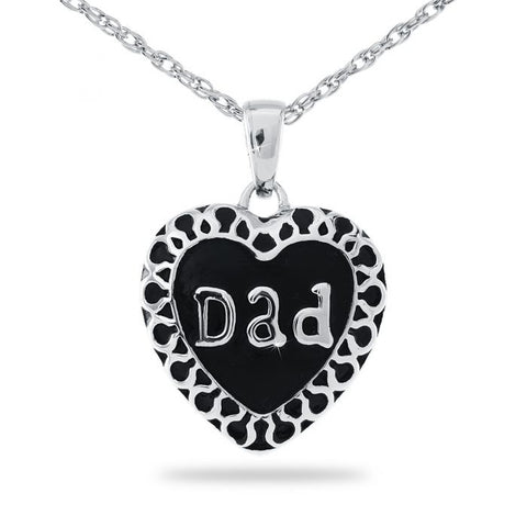 Dad Steel Heart Keepsake Cremation Pendant Necklace