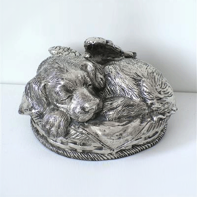 Angel Dog Urn - Silver