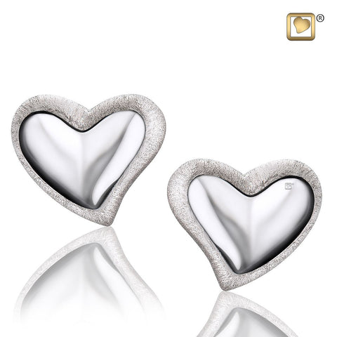 Leaning Heart™ Two-Tone Rhodium Plated Silver Stud Earrings