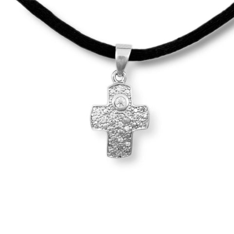 Filigree Cross Cremation Pendant - Sterling Silver