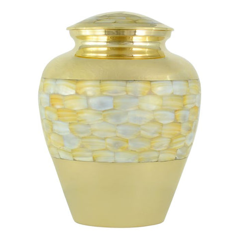 Mother of Pearl Brass Urn (Gold)