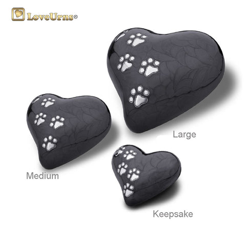 Midnight Pearlescent Paw Print Heart - Medium or Keepsake