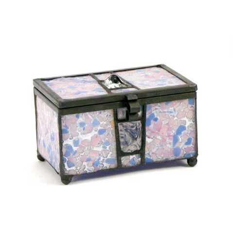 Orchid Stained Glass Box Urn Memory Chest (Keepsake Size)