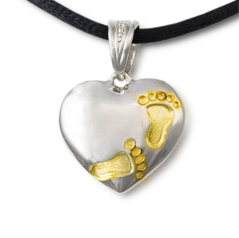Footprints on My Heart Cremation Pendant – Sterling Silver