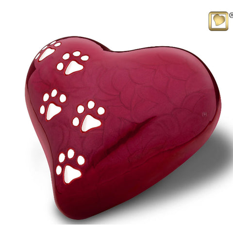 Red Pearlescent Paw Print Heart - Large