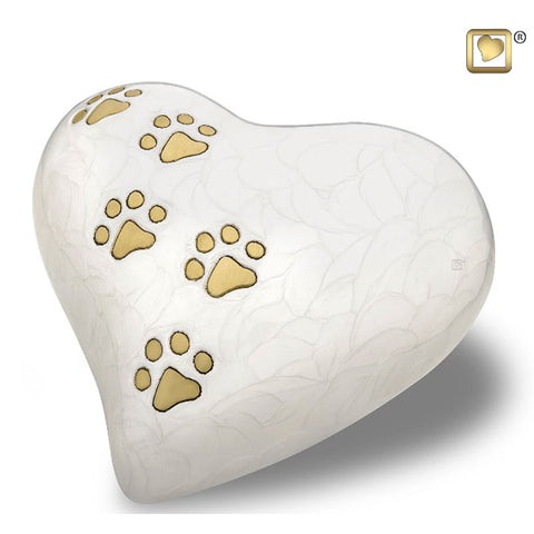White Pearlescent Paw Print Heart - Large