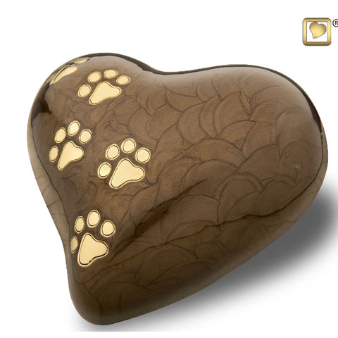 Bronze Pearlescent Paw Print Heart - Large