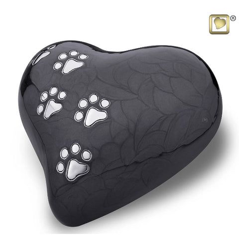 Midnight Pearlescent Paw Print Heart - Large