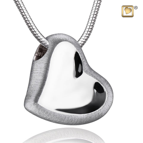 Leaning Heart™ Two-Tone Rhodium Plated Silver Cremation Pendant