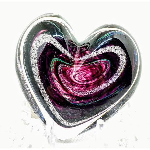 Hand Blown Glass Memorial Heart with Cremains