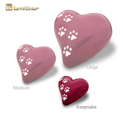 Red Pearlescent Paw Print Heart - Medium or Keepsake