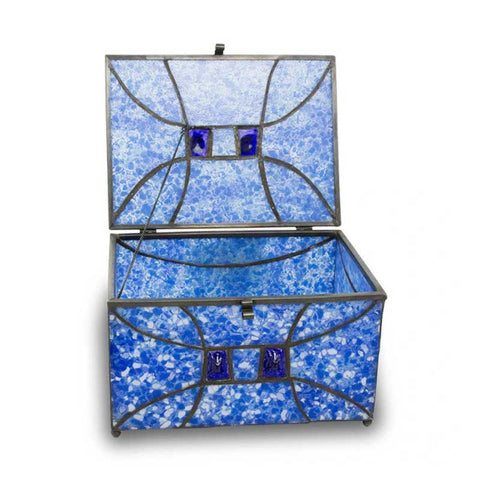 Sapphire Stained Glass Box Urn Memory Chest (Adult Size)