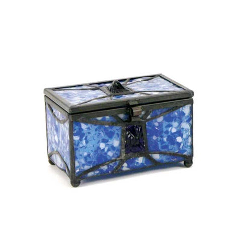 Sapphire Stained Glass Box Urn Memory Chest (Keepsake Size)