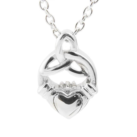 Silver Tone Claddagh Cremation Necklace – Stainless Steel