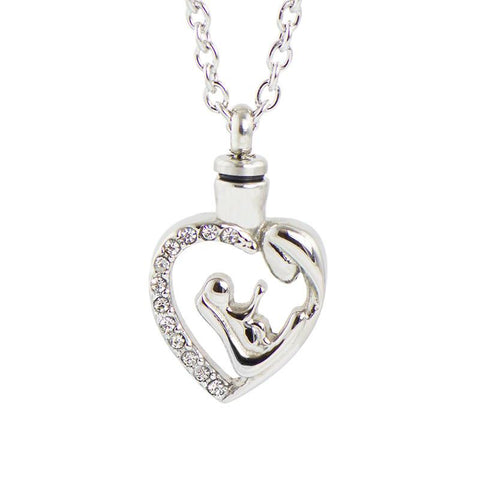 Mother and Child Cremation Pendant – Stainless Steel