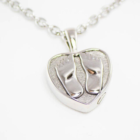 Baby Feet Cremation Pendant Necklace – Stainless Steel