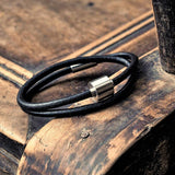Leather Barrel Men's Cremation Urn Bracelet by Tadblu