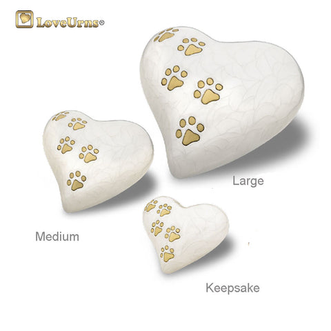 White Pearlescent Paw Print Heart - Medium or Keepsake