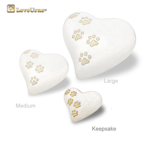 White Pearlescent Paw Print Heart - Keepsake