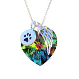 Pet Memorial Necklace - Circle Paw Charm