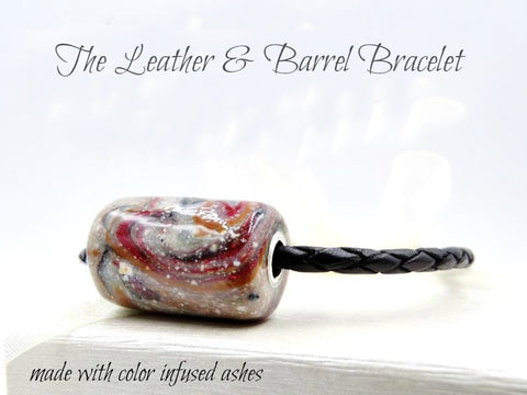 Memorial Leather & Barrel Bead Bracelet