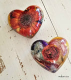 Memorial Flower Petal Resin Heart Paperweight
