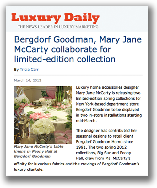 Luxury Daily - Collaboration between Bergdorf Goodman and Mary Jane McCarty