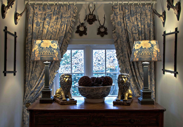 Curtains and lampshades from fabric designed by Mary Jane McCarty