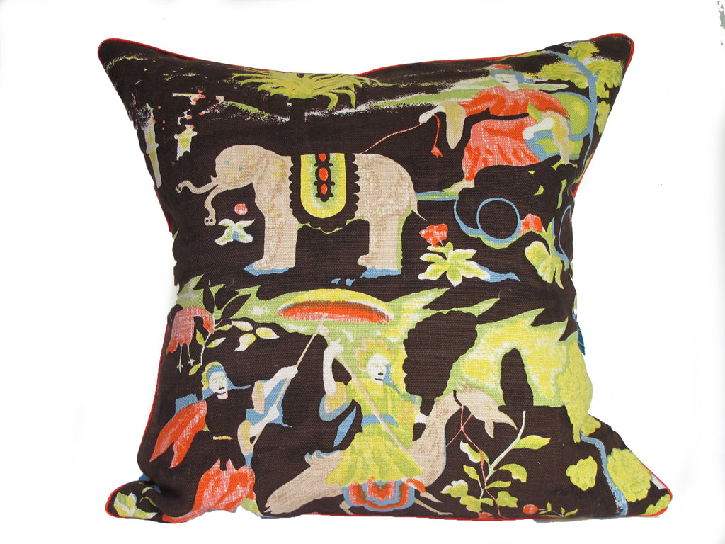 Mid-century retro vintage English fabric pillow