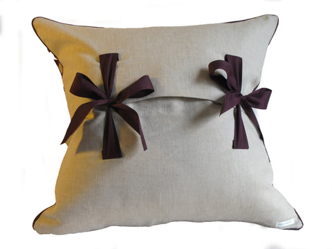 Antique textile handmade pillow with bow closure