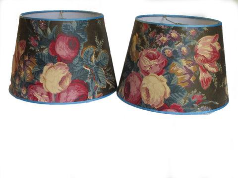Pair Vintage Chintz Lampshades
